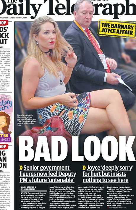 The Daily Telegraph front page on Barnaby Joyce and Vikki Campion's relationship..