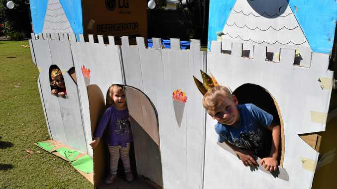 Charlotte, 4, and Isabella, 2, Roder and Erik Fox, 4, built a castle.