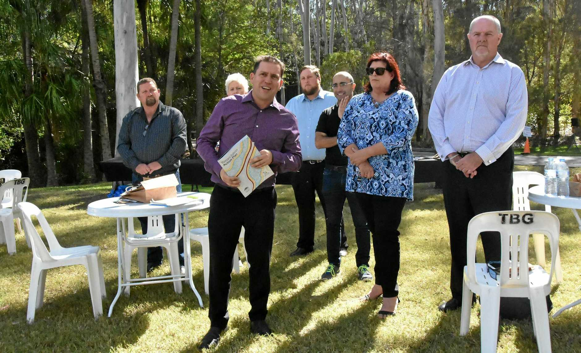 Gladstone Regional Council mayor Matt Burnett launches the council's first Reconciliation Action Plan at the Tondoon Botanic Gardens.