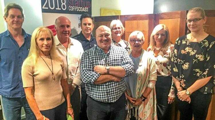 STARTING LINE: Stephen Saunders, of Coffs Harbour City Council (centre), with 2018 finalists of Startup Coffs Coast.