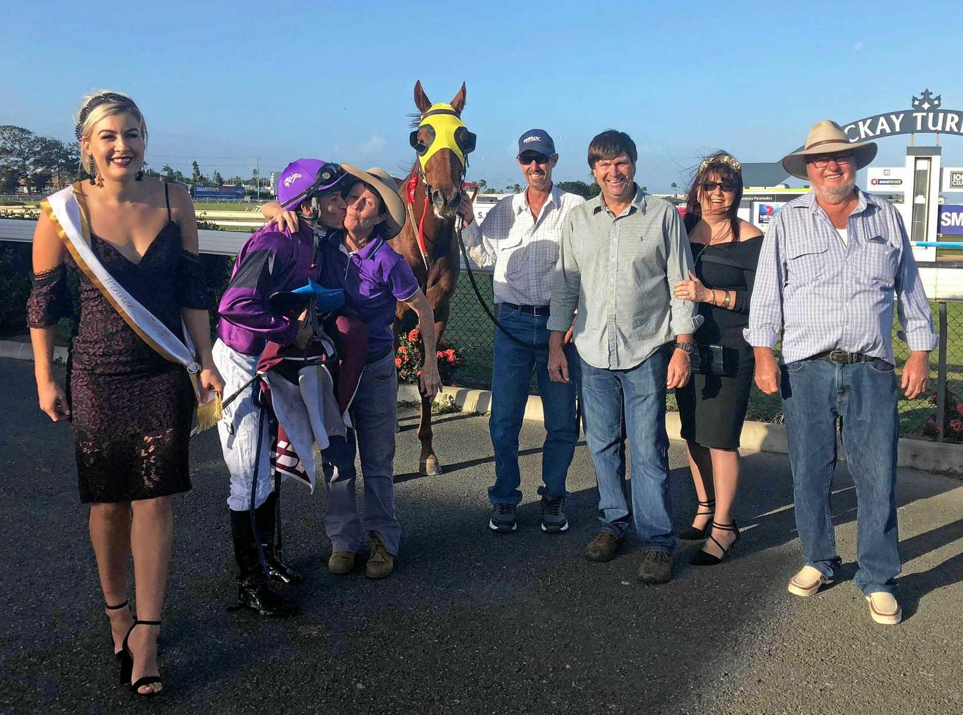 Glenda Bell's stable star Fastnet Flyer took out his second Mackay Amateur Cup over 1800m last Saturday  with heavyweight Brisbane jockey Brad Pengelly.