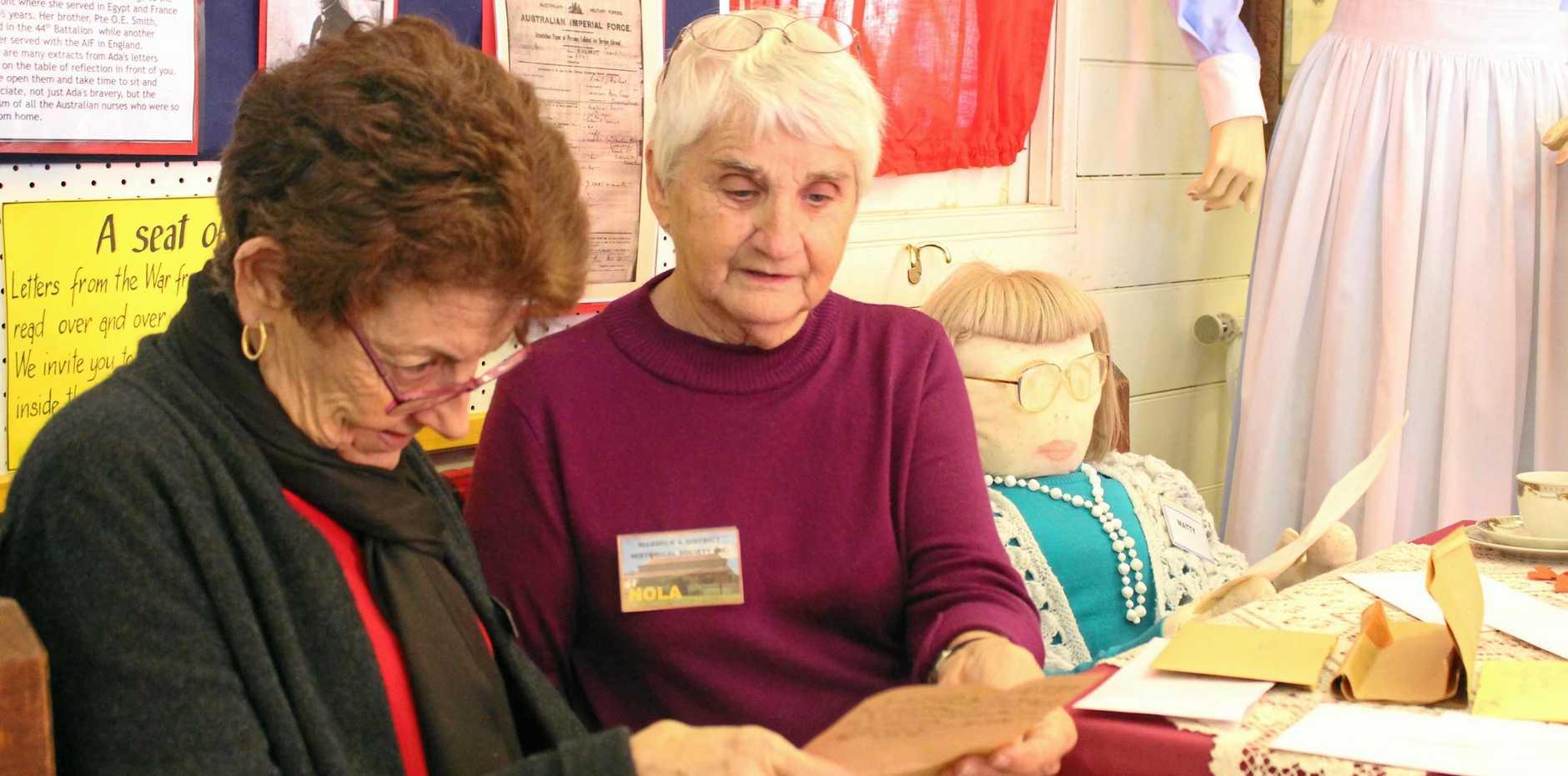 HISTORICAL HUB: Margaret Doherty and Nola Mikkelsen read war-time letters written by Margaret Goggins.