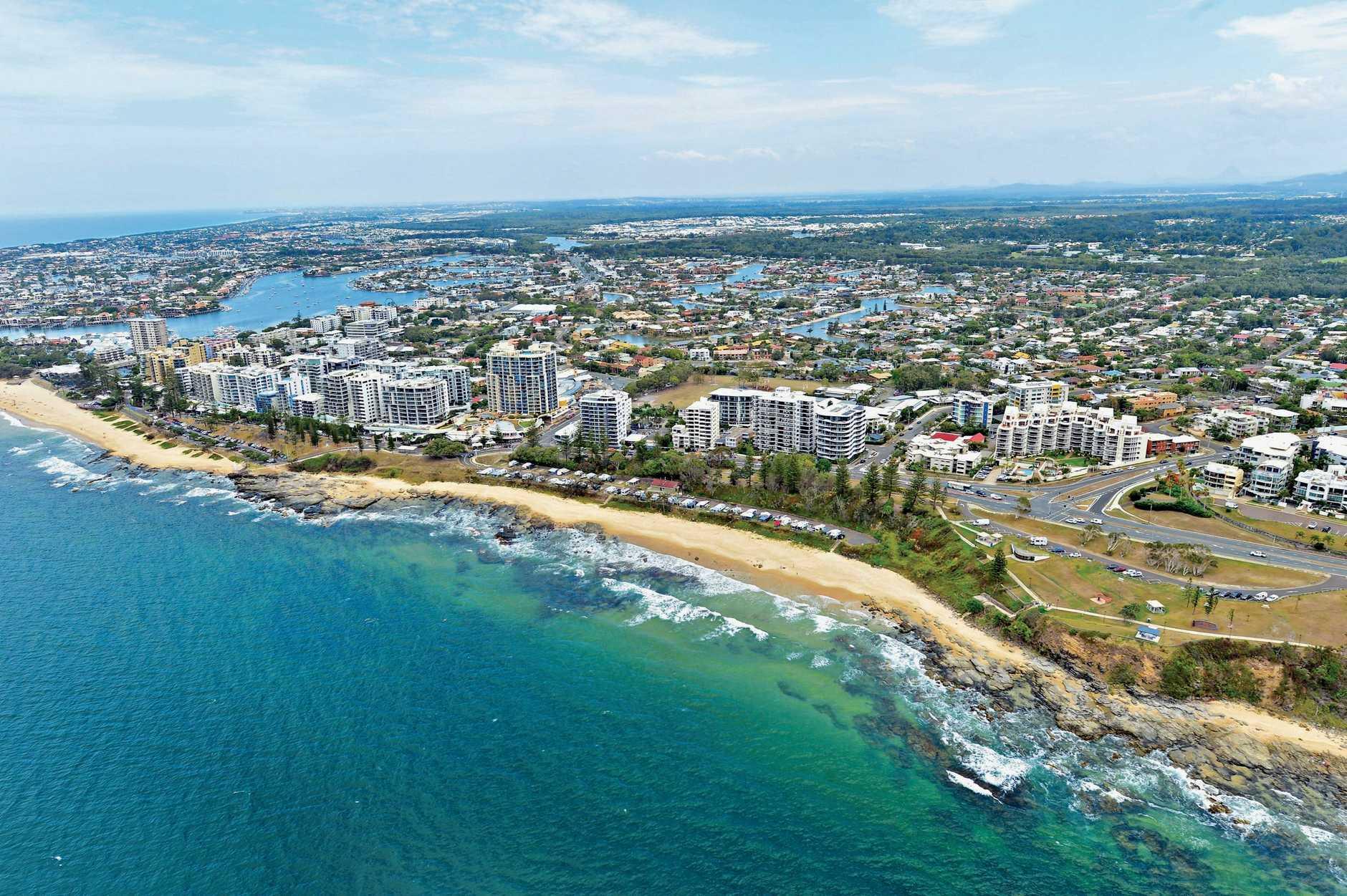 Aerial photographs of the Sunshine Coast. Alexandra Parade. Mooloolaba Caravan Park. Mooloolaba Beach. Alexandra Headland.