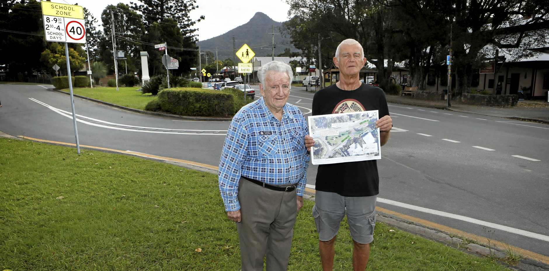 CONCERN: Uki Resident Gwyn Hooper and Murwillumbah RSL Branch Ray Blissett are calling on council to reject plans to change the Uki War Memorial.