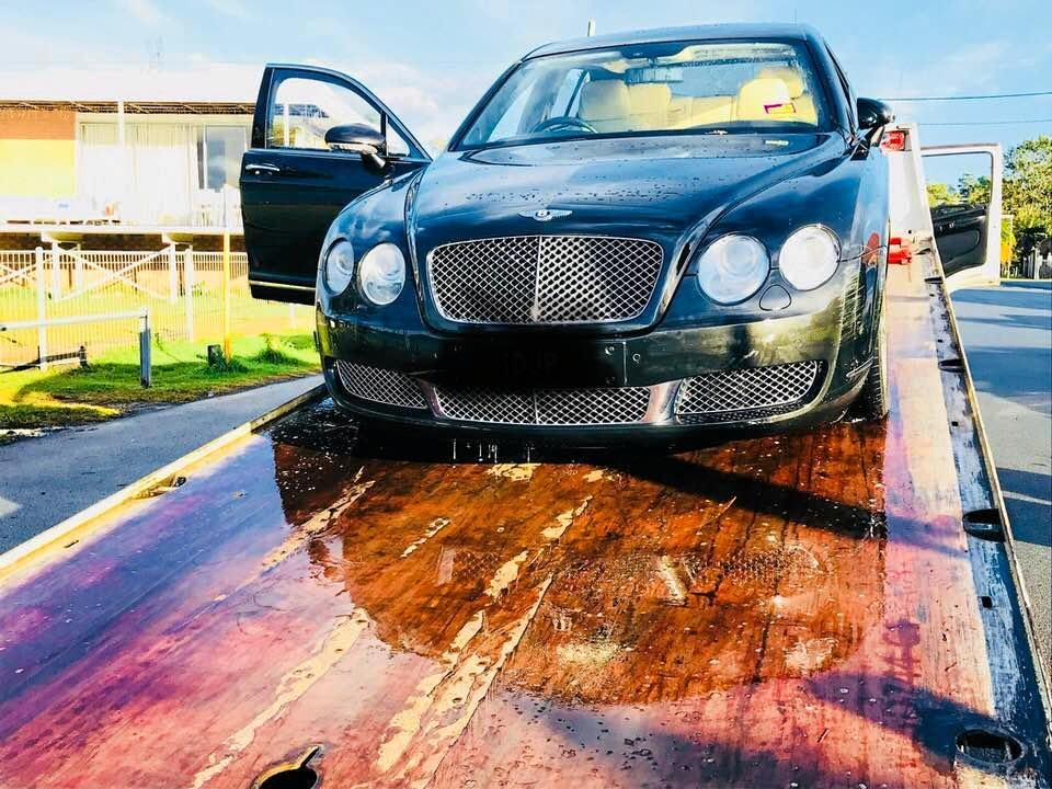 A luxury Bentley Continental was pulled from a Tweed river on Monday afternoon.