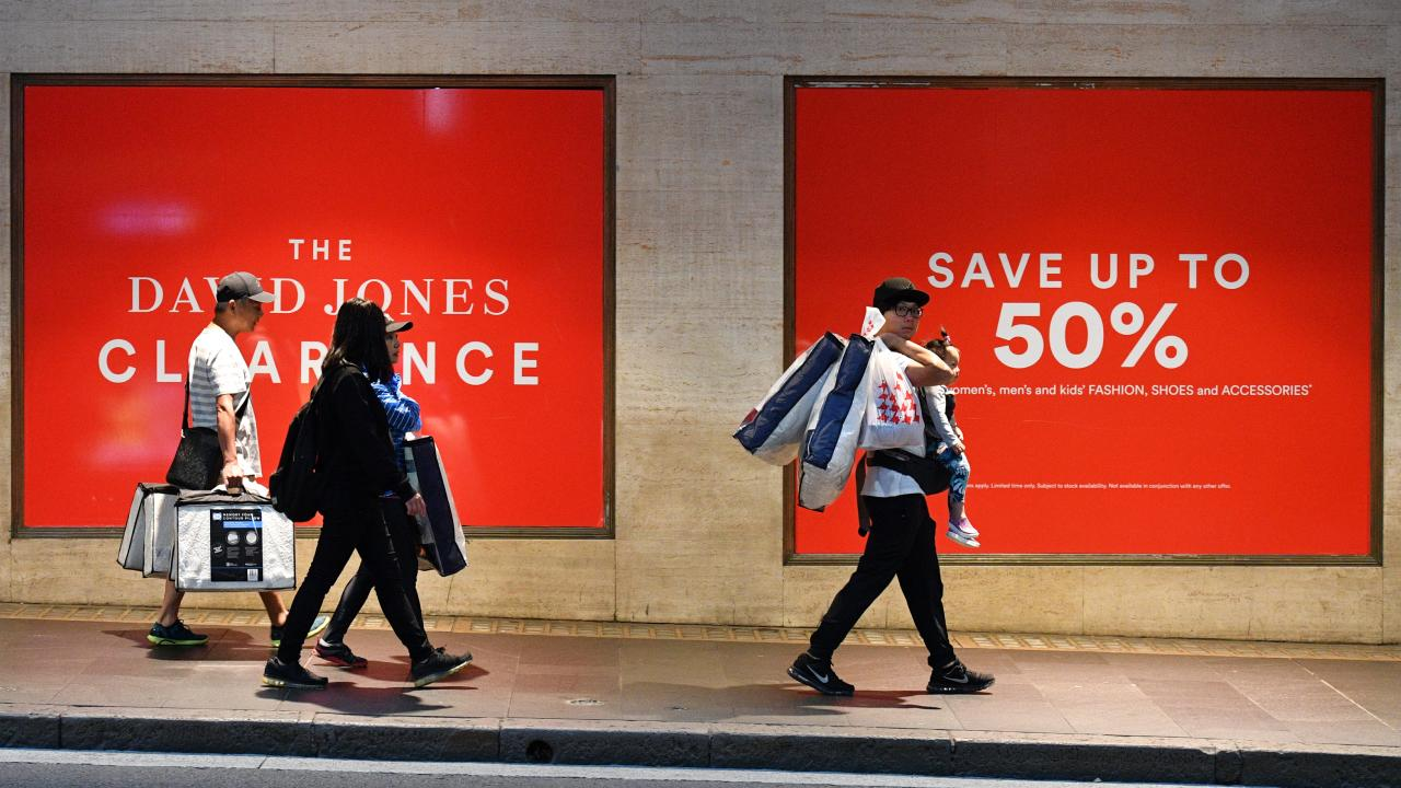 Myer and David Jones have kicked off simultaneous sales. Picture: AAP Image/Mick Tsikas