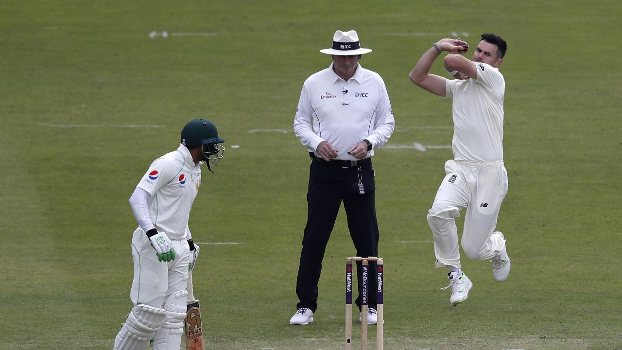 England's James Anderson bowls against Pakistan during the first Test at Lord's cricket ground.