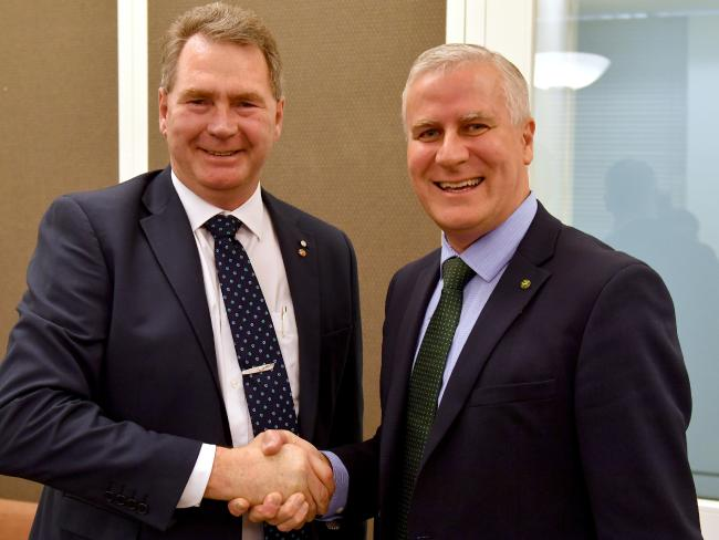 Senator Steve 'the Tasmanian Tiger' Martin is welcomed by Deputy Prime Minister and Nationals leader Michael McCormack. Picture: Mick Tsikas/AAP