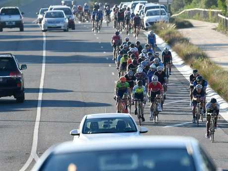 A petition is calling for state governments across Australia to ban the practice of allowing cyclist to ride two abreast, saying it can be dangerous for motorists. Picture: Nicole Garmston.