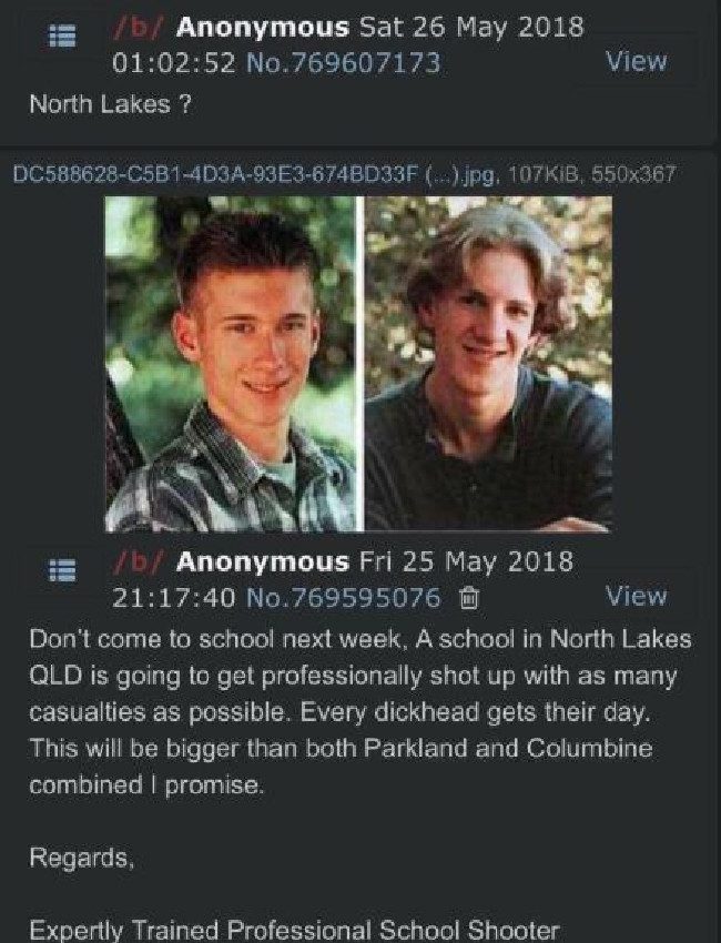 The post references the Columbine High School massacre.