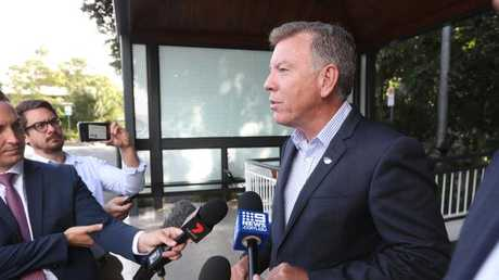 Ipswich acting mayor Wayne Wendt addresses the media at the council offices. IMAGE: Peter Wallis