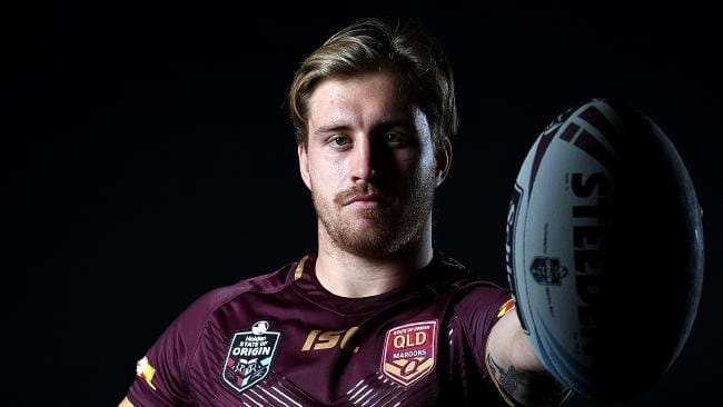 BRISBANE, AUSTRALIA - MAY 28: Cameron Munster poses for a photo during a Queensland Maroons State of Origin media opportunity at Rydges Southbank on May 28, 2018 in Brisbane, Australia. (Photo by Bradley Kanaris/Getty Images)