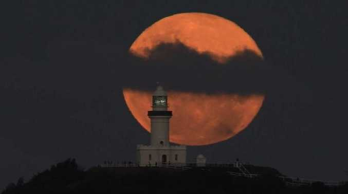 Luke Taylor, of Surflife Australia Photography, shot a real-time video of the full moon rising above the Cape Byron Lighthouse.