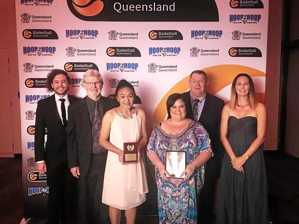 TOP AWARD: Ipswich Basketball Association representatives (from left) Sean Fernance (operations manager), Jon Simpson (president), Tiresa Afamasaga (competitions officer), Brooke Norgrove (treasurer), Terry Lindeberg (volunteer) and Megan Brockhurst (board member) collect the state award.