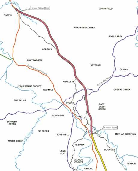 Bruce Highway Upgrade (Cooroy to Curra): key plan