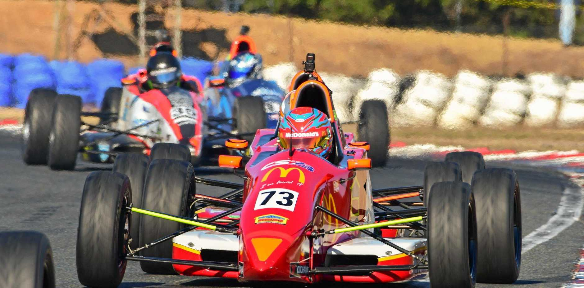 ON TRACK: Toowoomba's Cameron Shields battles through the pack during round three of the Formula Ford Championship at Wakefield Park Raceway, NSW.