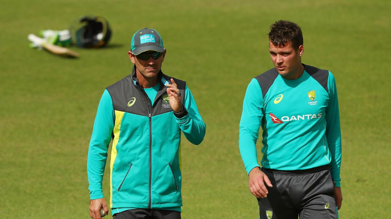 Alex Carey (pictured with Justin Langer) has been named as vice-captain in both Australia A squads to tour India.