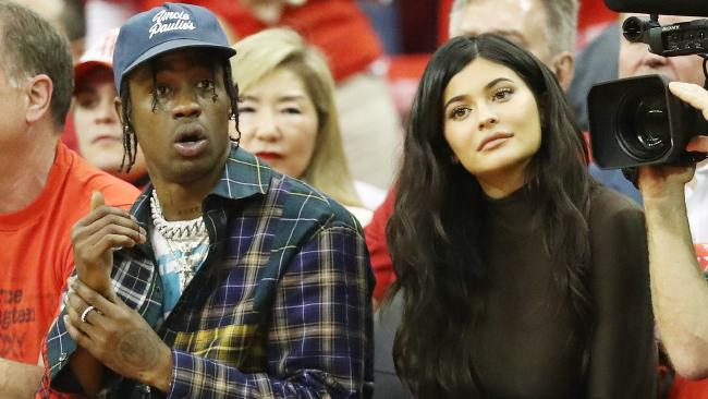New parents Travis Scott and Kylie Jenner sat courtside in Houston this week. Picture: Getty Images