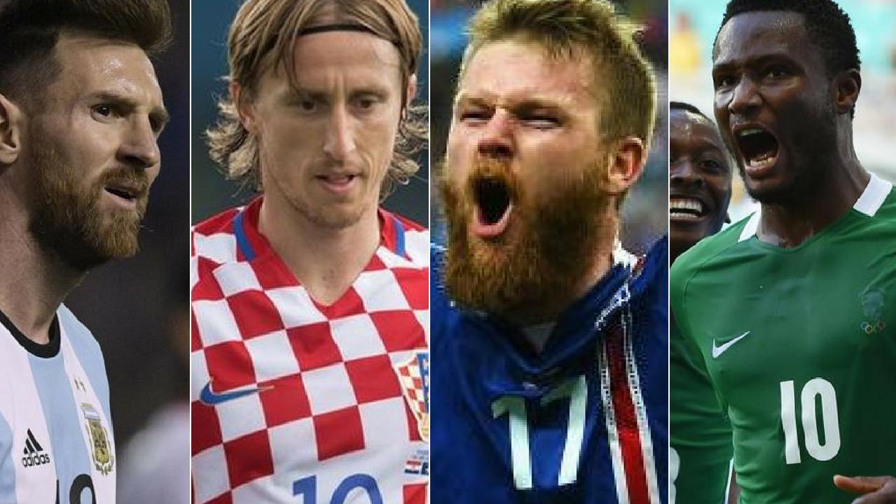 Lionel Messi, Luka Modric, Aron Gunnarsson and John Obi Mikel