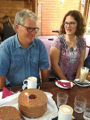 Peter Miles and daughter Katrina at a birthday party in 2017. Picture: Facebook.