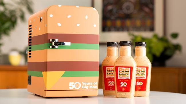 The three Big Mac sauce bottles and the fridge.