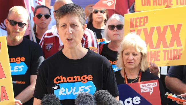 ACTU Secretary Sally McManus at a rally with XXXX workers on Wednesday. Pictures: Lachie Millard