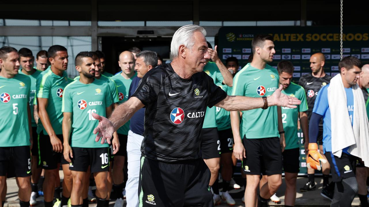 Coach Bert van Marwijk leads as Socceroos World Cup training session in Turkey.