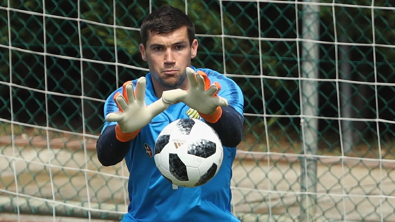 Socceroos goalkeeper Mat Ryan at training in Antalya, Turkey.