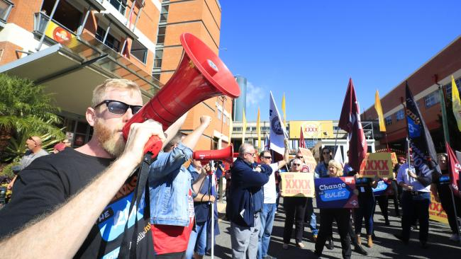 XXXX workers taking strike action at the Milton brewery on Wednesday. Pictures: Lachie Millard