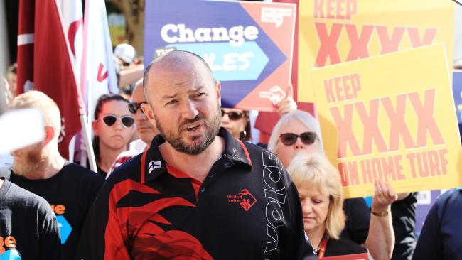 United Voice spokesman Damien Davie at the rally.