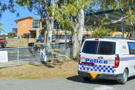 Emergency services respond to a bomb threat at Gladstone State High on 31 May, 2018 after a suspicious note was found in one of the school's bathrooms.