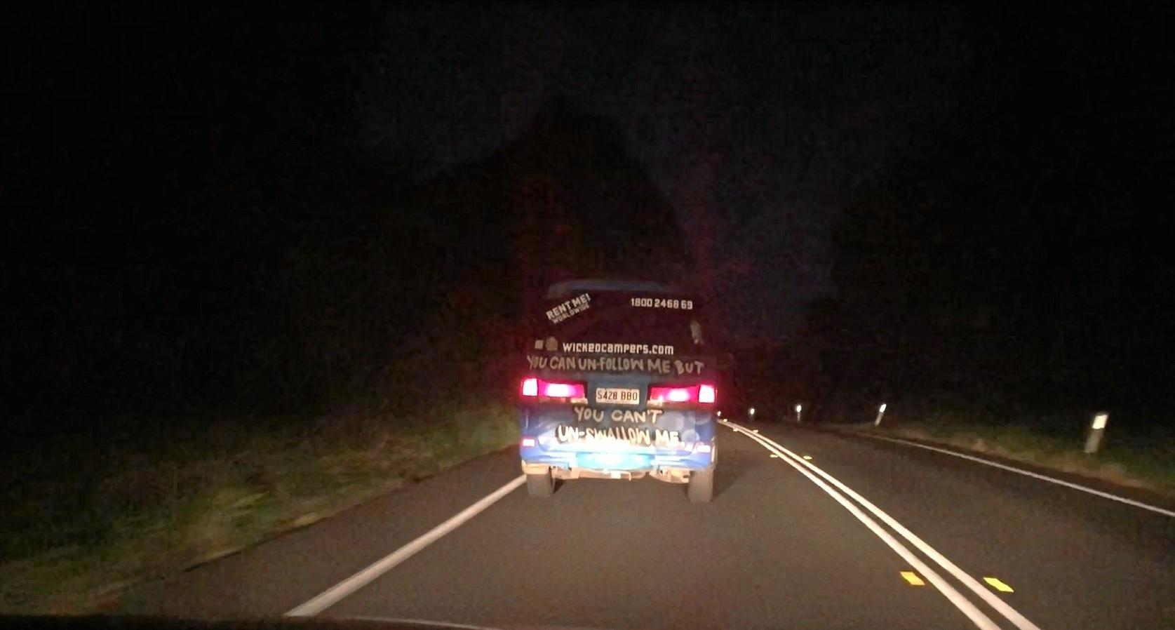 Another Wicked Camper with an offensive slogan was spotted driving on the Coast Road into Byron Bay on Tuesday night.