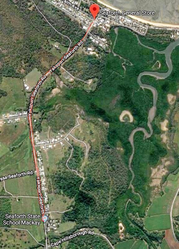 The proposed foot path at Yakapari Seaforth Rd.