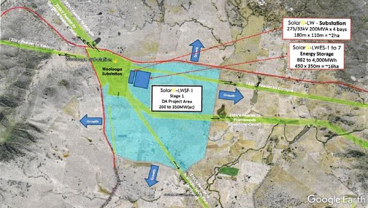 Location plan for Stage 1 of the Lower Wonga solar farm development.