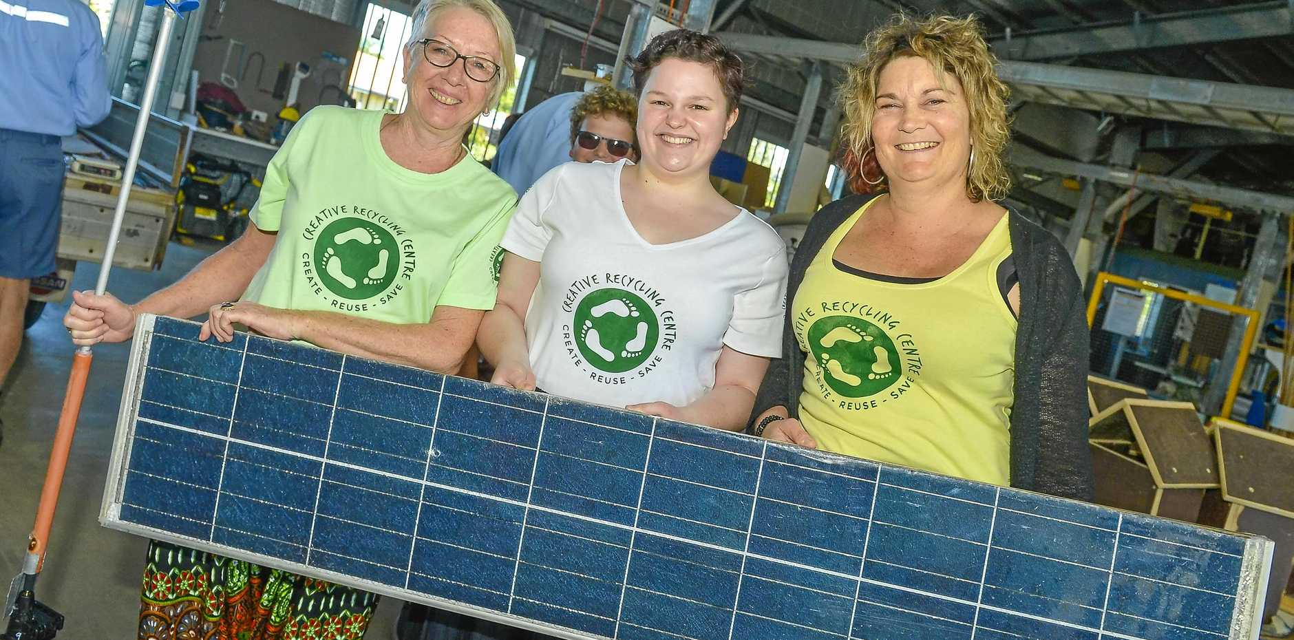 BRIGHT IDEAS: Irene Dudley, Rebecca Lush and Tracey Smith  with a solar panel for  the  challenge.