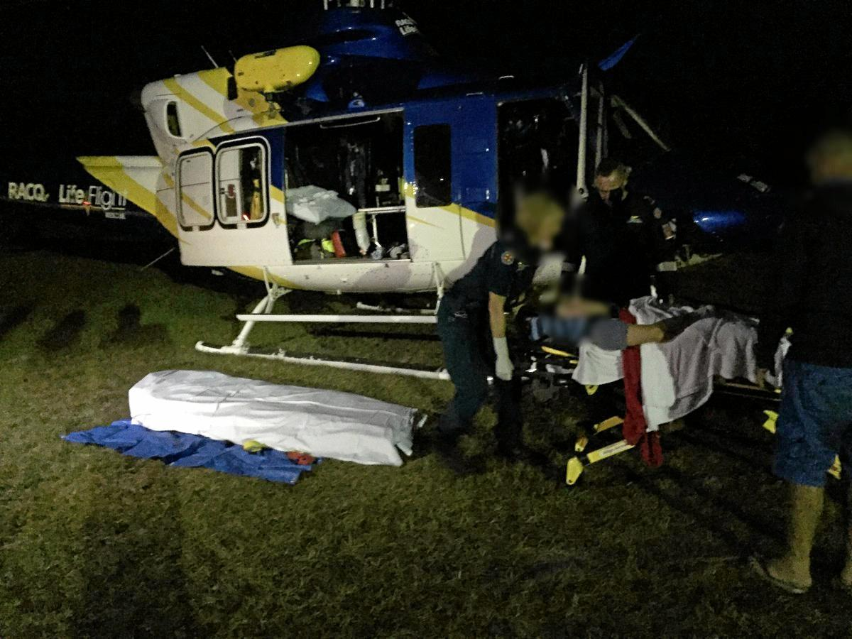 A teenager was airlifted after falling off a trampoline