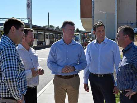 LNP politicians (from left) Brent Mickelberg, Andrew Powell, Tim Mander, Dan Purdie and Marty Hunt meet at Nambour railway station to call for immediate funding of rail duplication.
