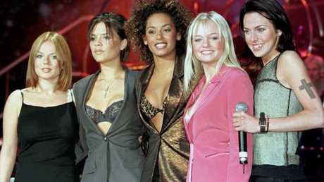 (L-R) Geri Halliwell, Victoria Adams (now Beckham), Melanie Brown, Emma Bunton and Melanie Chisholm in Manchester in April 1998, one month before Geri left the band. Notice the toned down hair, makeup and clothing. Picture: Dave Kendall