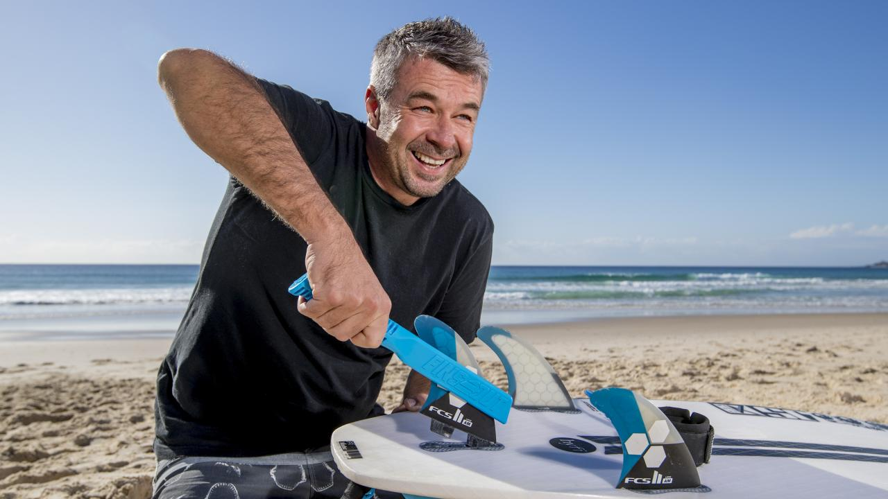 Kris O'Brien has released a new tool to remove surfboard fins, called Finsout. The tool is the first of its kind in the world. Picture: Jerad Williams