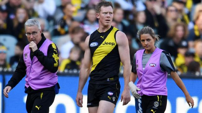 Jack Riewoldt is taken from the ground after being concussed.