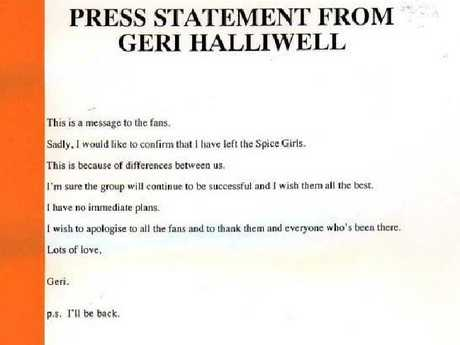 The press statement issued by Freud Communications Agency for former Spice Girls member Geri Halliwell.