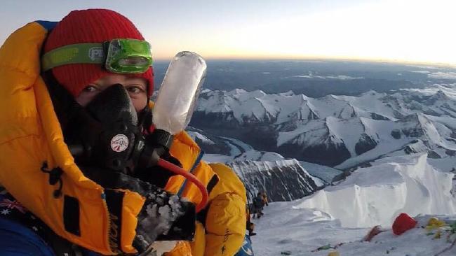 Alyssa Azar on the summit of Mt Everest in May.