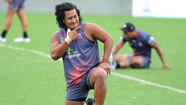 Reds hooker Brandon Paenga-Amosa is a happy man at training.