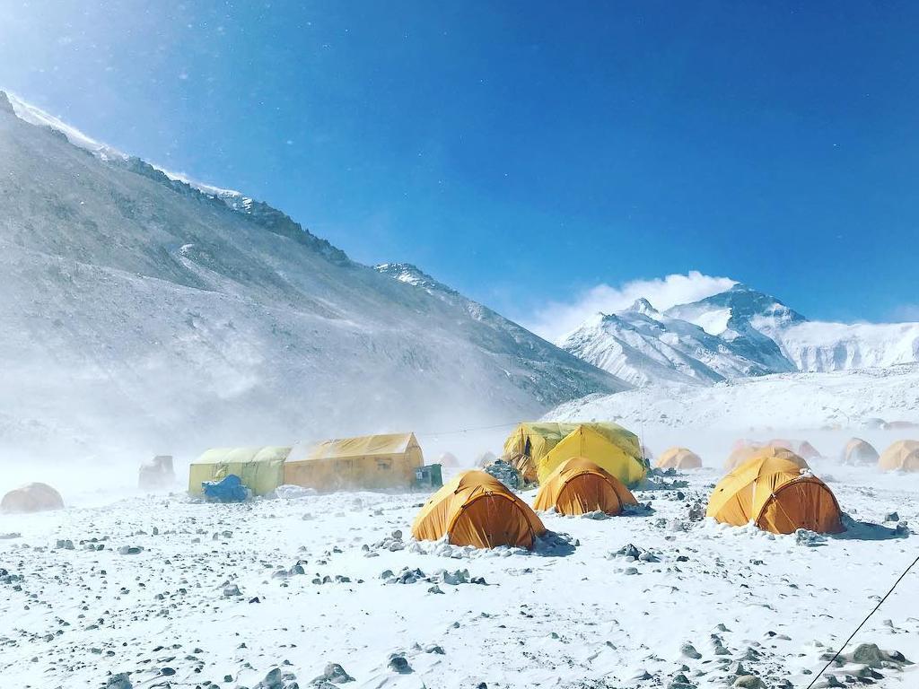 Alyssa Azar's team's tents at Everest Base Camp in Tibet.