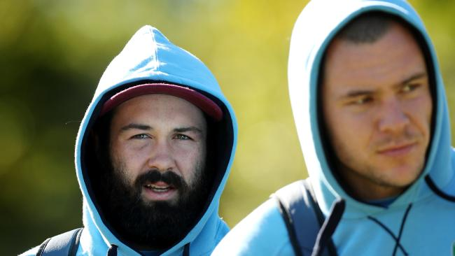 Enforcer underdone? Aaron Woods and David Klemmer arrive for the NSW Blues Origin team training session at the Novotel Pacific Bay Resort, Coffs Harbour. Picture: Gregg Porteous
