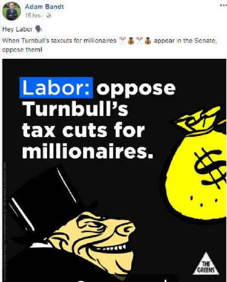 Greens MP Adam Bandt posted this image on Facebook.