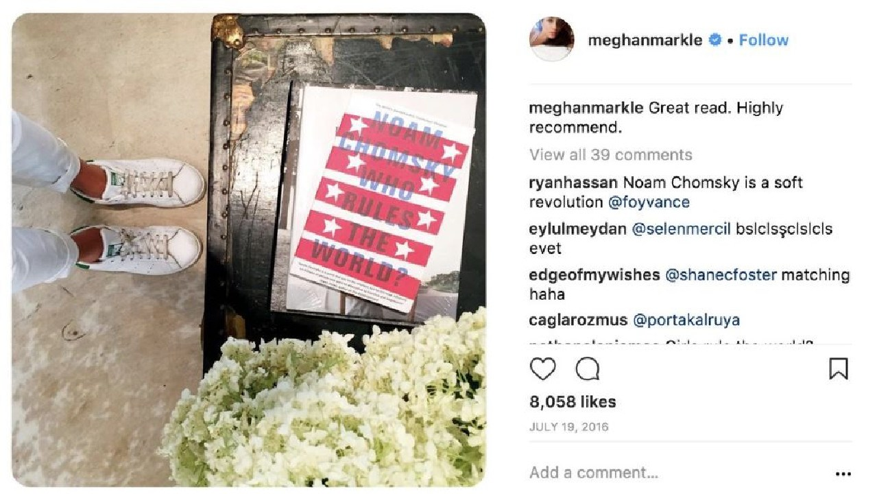Meghan Markle is also a fan of Noam Chomsky. Picture: Instagram