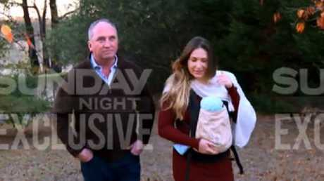 Barnaby Joyce and Vikki Campion with their newborn son, Sebastian. Picture: Channel 7