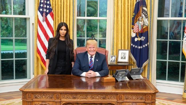Kim Kardashian meets Donald Trump at the White House. Picture: White House