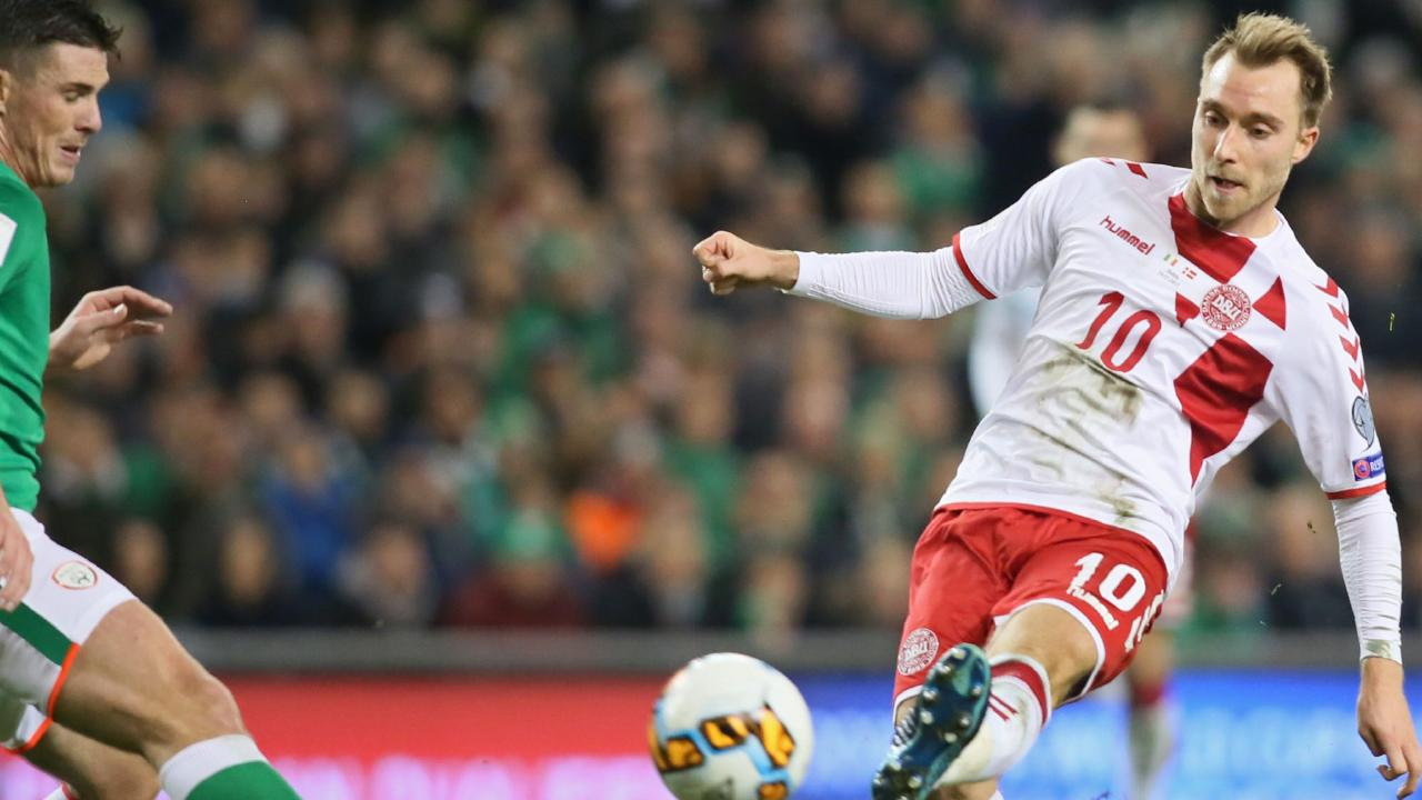 Danish superstar Christian Eriksen scores against Ireland in the second leg of their World Cup playoff.